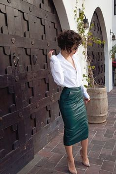petrol leather skirt + white shirt
