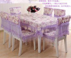 Find More Tablecloths Information About Purple Lace Floral Table Cloth And  Chair Cover Set 13pcs .