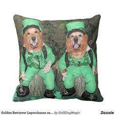 Golden Retriever Leprechauns on Stumps Throw Pillow