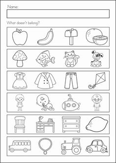 Kindergarten Back to School Math & Literacy Worksheets and Activities. 135 pages. A page from the unit: what doesn't belong? Back To School Worksheets, Literacy Worksheets, Math Literacy, Worksheets For Kindergarten, Printable Worksheets, Critical Thinking Activities, Preschool Activities, Kindergarten Learning, Kids Learning
