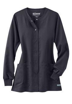 Greys Anatomy 4 pocket snap front scrub jacket.