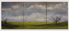 Original Landscape Painting, Triptych, Office, Home Decor, Original art, Bare Tree, 3 canveses, Winjimir, Cloudy Sky, Green Hills, Art, Gift...