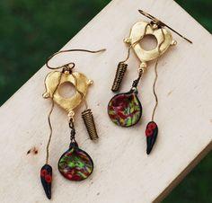 Lovely Heart Metal Polymer Clay Green Red Wire Wrap Unique Artisan Earrings #Jeanninehandmade #Wrap