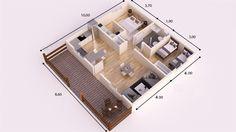 HUESCA DONACASA 90 m2 Bungalows, Modern Small House Design, Granny Flat, Cozy House, Ideas Para, House Plans, Floor Plans, Flooring, How To Plan