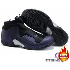 Nike Air Flightposite Black Eggplant Metallic Silver Nike Shoes For Sale 0f16518dc7