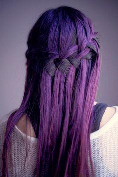 purple waterfall braid hair
