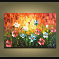 Stunning Original Impressionist Palette Knife Hand Painted Oil Painting Stretched Ready To Hang Poppy Flower. This 1 panel canvas wall art is hand painted by A.Leong, instock - $181. To see more, visit OilPaintingShops.com