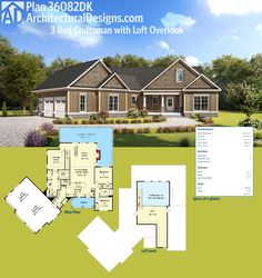 Architectural Designs Exclusive 3 Bed Craftsman House Plan 36082DK has a loft overlooking the vaulted family room below and a wide open front-to-back floor plan. Ready when you are. Where do YOU want to build?