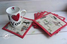 Textile Mug Rugs I like traveling-Set of by TextileHomeware