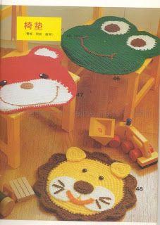 patrón gratiuto de alfombras infantiles de animales a ganchillo via Croche pro Bebe
