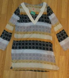 fc7756cea5ccd Echo Design Beach Swim Cover Up shirt boho beaded Size M Goddess Tunic NWT  #Echo