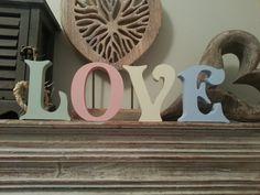 Set of 4  Handpainted Freestanding Letters LOVE  by LoveLettersMe, £20.00