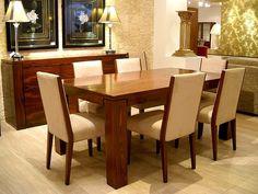 Metropolitan Yemek Takımı. Egzotik pelesenk (palisander) kaplama masa ve büfesiyle (vitrin de... pinned with Pinvolve