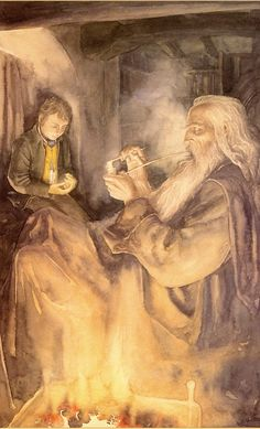 Alan Lee, Frodo and Gandalf, acquarello