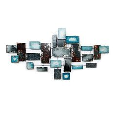 Picture of 56 X 28 X Turquoise Gray Blue Wall Décor Blue Grey, Blue And White, Gray, Blue Wall Decor, White Apartment, Rock Decor, Us Beaches, Blue Walls, Modern Wall Art