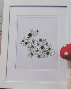 Ruby Rabbit,  cute button detailed frame. Pefect gift for any boy or girl, nursery or bedroom.  Made to order.  Text optional