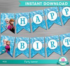 Frozen Banner Instant Download, Frozen Party Banner, Frozen Party, Frozen Party Decoration DIY