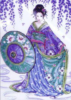 Wisteria Flower Geisha Art