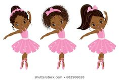 Illustration of Vector cute little African American ballerinas with various hairstyles. Vector ballerinas in pink tutu dresses. African American ballerinas vector illustration vector art, clipart and stock vectors. Hair Vector, Vector Art, Pink Tutu Dress, Tutu Dresses, Little Girl Ballerina, Kids Cartoon Characters, Nutcracker Sweet, Baby Clip Art, Animal Silhouette