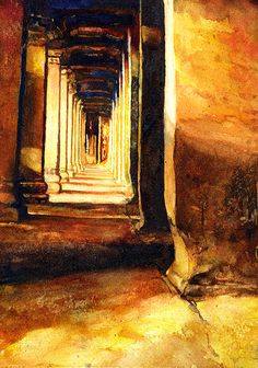 Watercolor painting of the exterior hallway of Buddhist/Hindu temple of Angkor Wat- Angkor Wat ruins in Cambodia by RFoxWatercolors