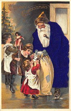 Rare Children Toys Bag PURPLE Silk Suited Santa Claus Christmas Postcard #Christmas