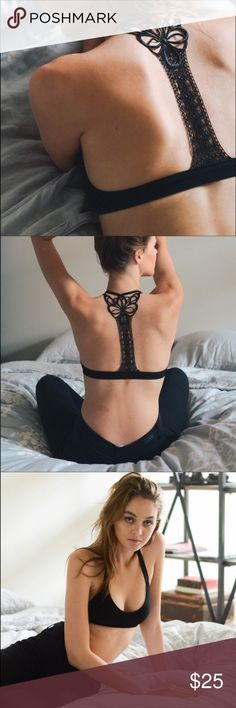 Appliqué racerback bralette. Appliqué racerback bralette. Available in black and white. Intimates & Sleepwear