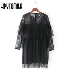 Vintage Sweet Lace Dotted Mesh Mini Dress Women 2018 New Fashion See  Through Sleeve Ruffle Trims Dresses Casual Vestidos Mujer