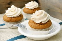 Gluten Free Pumpkin Cupcakes with Lemon Vanilla Frosting | Laura Friendly