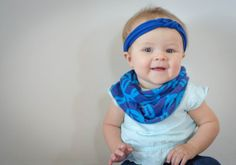 Royal Blue and Turquoise Geometric Infinity Scarf - Baby, Toddler, Child - One Size Fits Most - Matching Sailor Knot Headband Option!