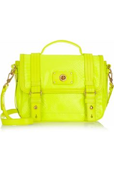 I found an incredible neon green bag reminiscent of this Marc Jacobs shoulder bag at Target today, but I was afraid that I'd never ever wear it if I purchased it. I know neon's going to be huge this Spring, but it's nearly impossible for me to break away from black and gray...