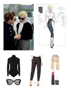 Fine-jersey bodysuit {Net-a-porter}; Cat eye-frame snakeskin sunglasses {Net-a-porter}; by Chloe Wool Peg Pant In Check With Belt {ASOS}; Woven Fringe Shawl {Barney's NY}; Marilyn Monroe Outfits, Marilyn Monroe Stil, Marylin Monroe Style, Marilyn Monroe Costume, Estilo Gamine, 1950s Fashion, Vintage Fashion, My Week With Marilyn, Style And Grace
