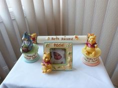 Disney's Winnie the Pooh baby keepsake frame, birth record scroll holder, 'first curl' and 'first tooth' trinket box. Super cute!!