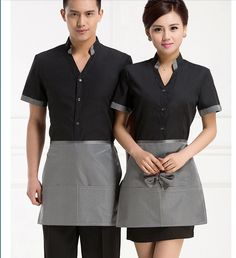 Hotel Uniform Summer Coffee Teahouse Hotel Restaurant Waiter Work Wear Short Sleeved Uniforms with Apron My Outfit, Dress Outfits, Dresses, Waiter Uniform, Hotel Uniform, Restaurant Uniforms, Uniform Ideas, Dress Codes, Coffee Shop