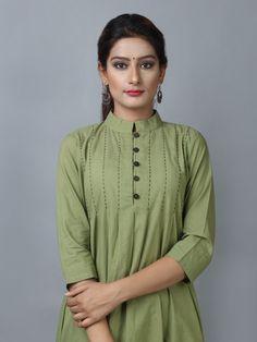 Olive Green Chanderi Cotton Suit - Set Of 3 Kurti Sleeves Design, Sleeves Designs For Dresses, Kurta Neck Design, Dress Neck Designs, Blouse Designs, Simple Kurti Designs, Stylish Dress Designs, Kurta Designs Women, Pakistani Fashion Casual