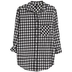 Mango Gingham Check Shirt, Black ($54) ❤ liked on Polyvore featuring tops, shirts, blouses, flannels, button front shirt, loose long sleeve shirts, long sleeve tops, black shirt and long sleeve shirts