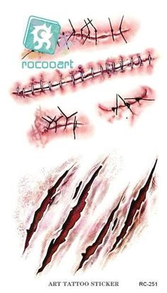 £1.99 GBP - Temporary Tattoo Sticker Halloween Terror Wound Realistic Blood Injury Scar Tatt #ebay #Fashion