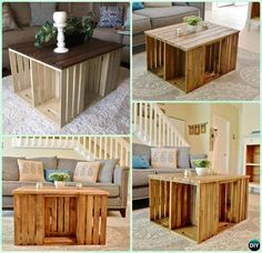DIY Wine Wood Crate Coffee Table Free Plans - Six-Crate Coffee Table   #Furniture
