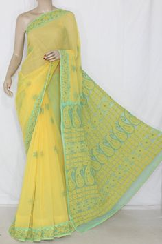 Yellow-Sea Green Daraj Work Hand Embroidered Lucknowi Chikankari Saree (With Blouse - Georgette) 12719