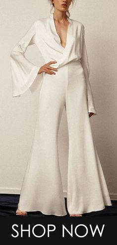 Casual Sexy V-Neck Pure Color Jumpsuits Elegant Cocktail Dress, Work Wardrobe, Hope Chest, Duster Coat, Pure Products, Couture, My Style, Sexy, Casual