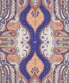 Etro Blue and Cream Paisley Print Scarf | Scarves by Etro | Liberty.co.uk