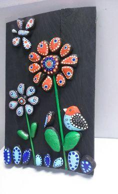 Pebble Art Flowers Romantic gift Stone Art New por StefArtStone
