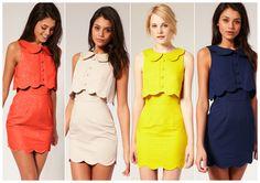 ASOS Pique Chelsea Scalloped Shift Dress in orange, cream, lime & navy