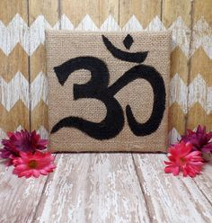 Hey, I found this really awesome Etsy listing at https://www.etsy.com/listing/240855028/om-painting-on-burlap-canvas-6-x-6