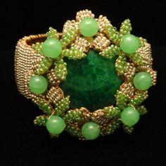 Stanley Hagler Hinged Clamper Bracelet Vintage Seed Pearls and Green Flowers | eBay