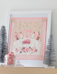 """The """"Moda All-Stars Mini Marvels"""" new book gets released today! Here's my quilt called """"A Pink Christmas"""". If you love wool applique combined with fabric this mini quilt is fun to make. The instructions are in the book!"""