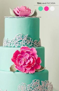 Teal and Fuchsia. What a fun combination! #WeddingCake #Watters http://www.pinterest.com/wattersdesigns/