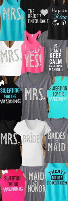 Bride Shirts and Tank tops for any occasion! Wine tasting at the #BridalParty, picking out your #Wedding Dress, and the #Honeymoon. Pick Any 3 BRIDAL Tops for $63.95 on Etsy. Click here to buy https://www.etsy.com/listing/178491866/3-wedding-bride-bridesmaids-tops-15-off?ref=shop_home_active_10&ga_search_query=mrs