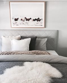 With a bedroom like this we'd happily stay in bed all day!  Catherine Heraghty you've created the perfect combination of muted tones and textures with clean lines and our custom made quilted Heatherly Bedhead….just divine!  www.heatherlydesign.com.au