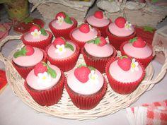 Cupcakes at a Strawberry Shortcake Party #strawberryshortcake #cupcakes