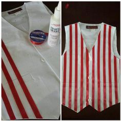 A do it yourself candy striped / barber shop vest - I needed a striped vest for my son's group tap dance. A friend suggested I use ribbon and glue the end result is fantastic!